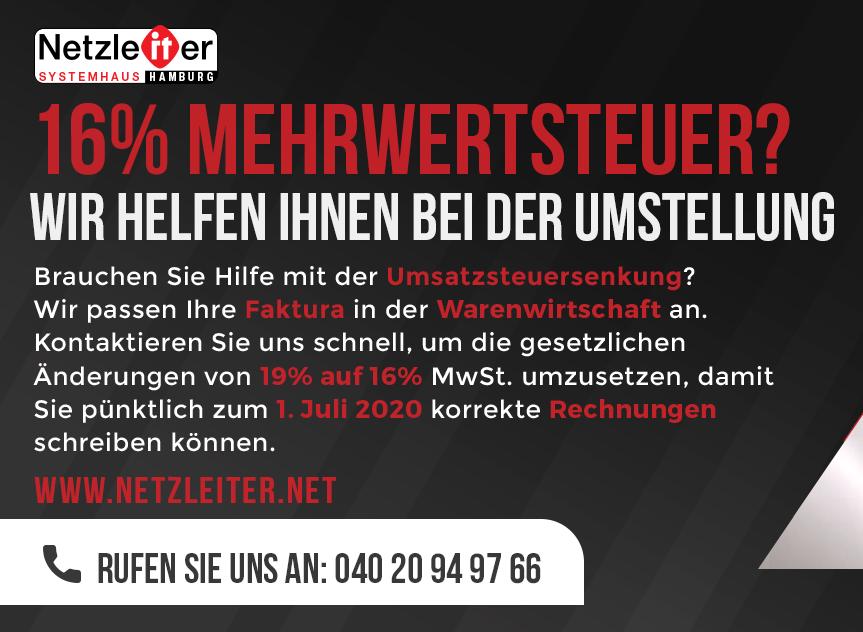 16% Mehrwertsteuer? Wir helfen Ihnen bei der Umstellung