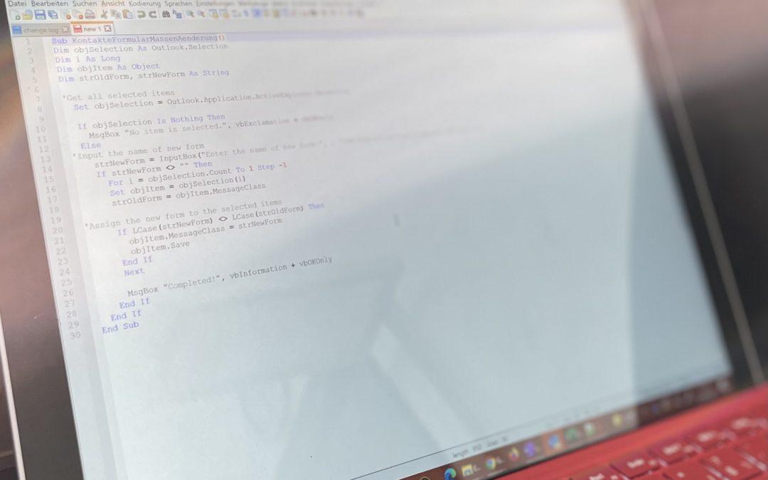 VBA-Skript zum nachträglichen Anpassen der Kontaktformulare in Outlook