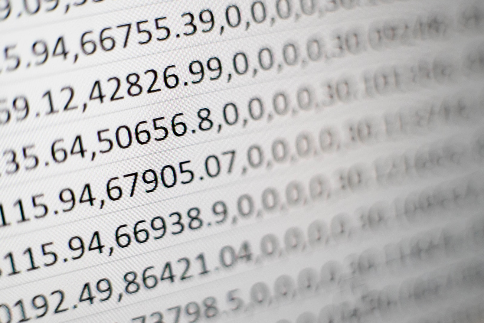 Excel Zahlen white printing paper with numbers